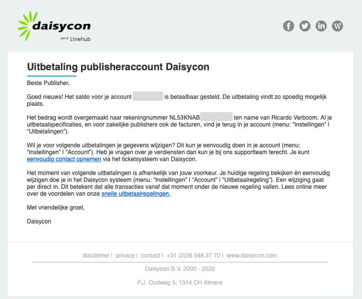 uitbetaling daisycon